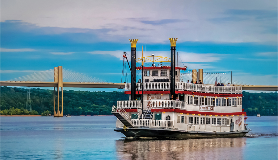 A river boat on the St. Croix River in Stillwater, Minnesota.