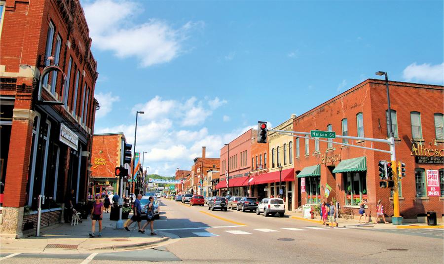 A look down Main Street in Stillwater, Minnesota.