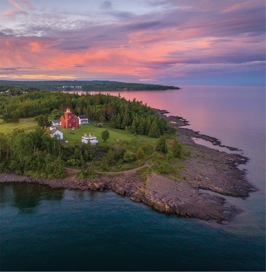 The red-brick Two Harbors Light building overlooks Lake Superior's Agate Bay.