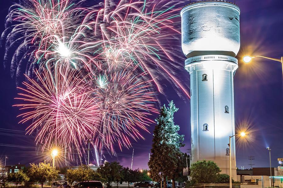 A fireworks show over the Brainerd water tower in Brainerd, Minnesota.