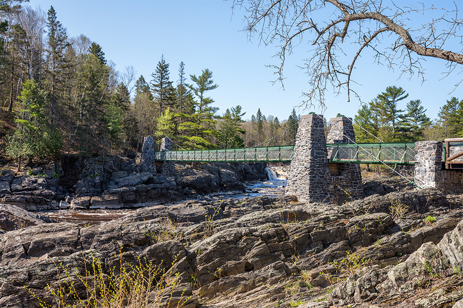 The rope bridge at Jay Cooke State Park in northern Minnesota.