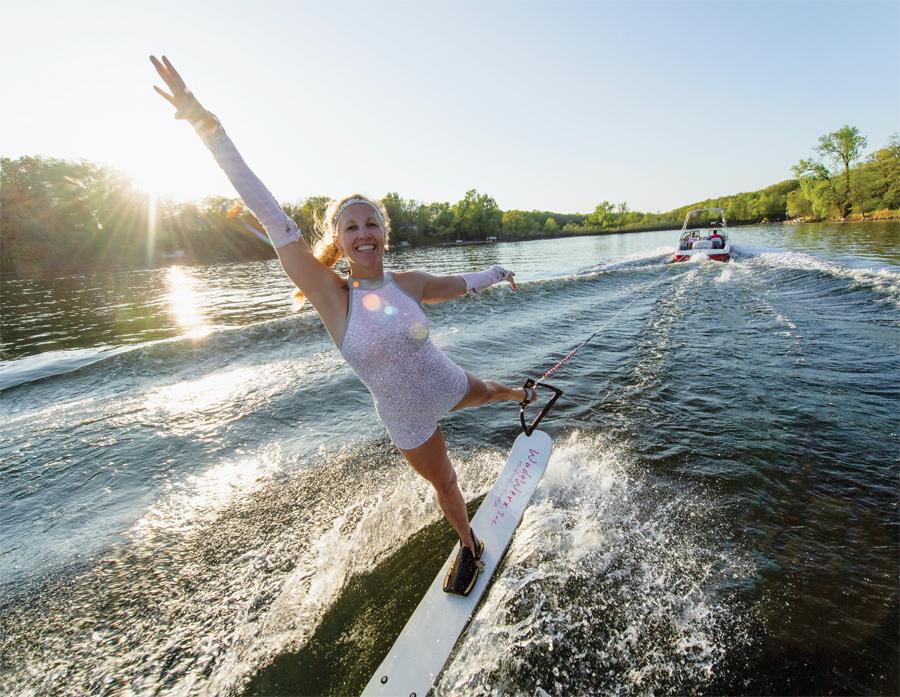 Anne Judd water skiing.