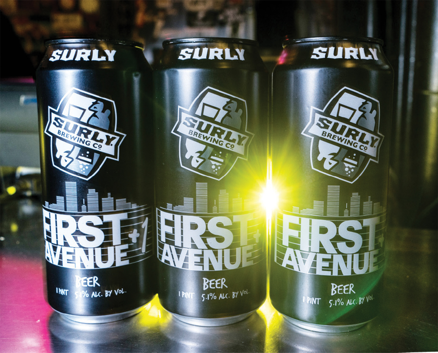 Three cans of Surly and First Avenue's beer collaboration.