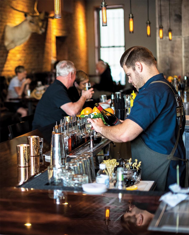 The bar area at Parlour Bar in St. Paul, Minnesota.