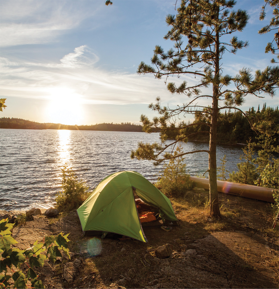 A campsite with a tent in the Boundary Waters Canoe Area Wilderness.