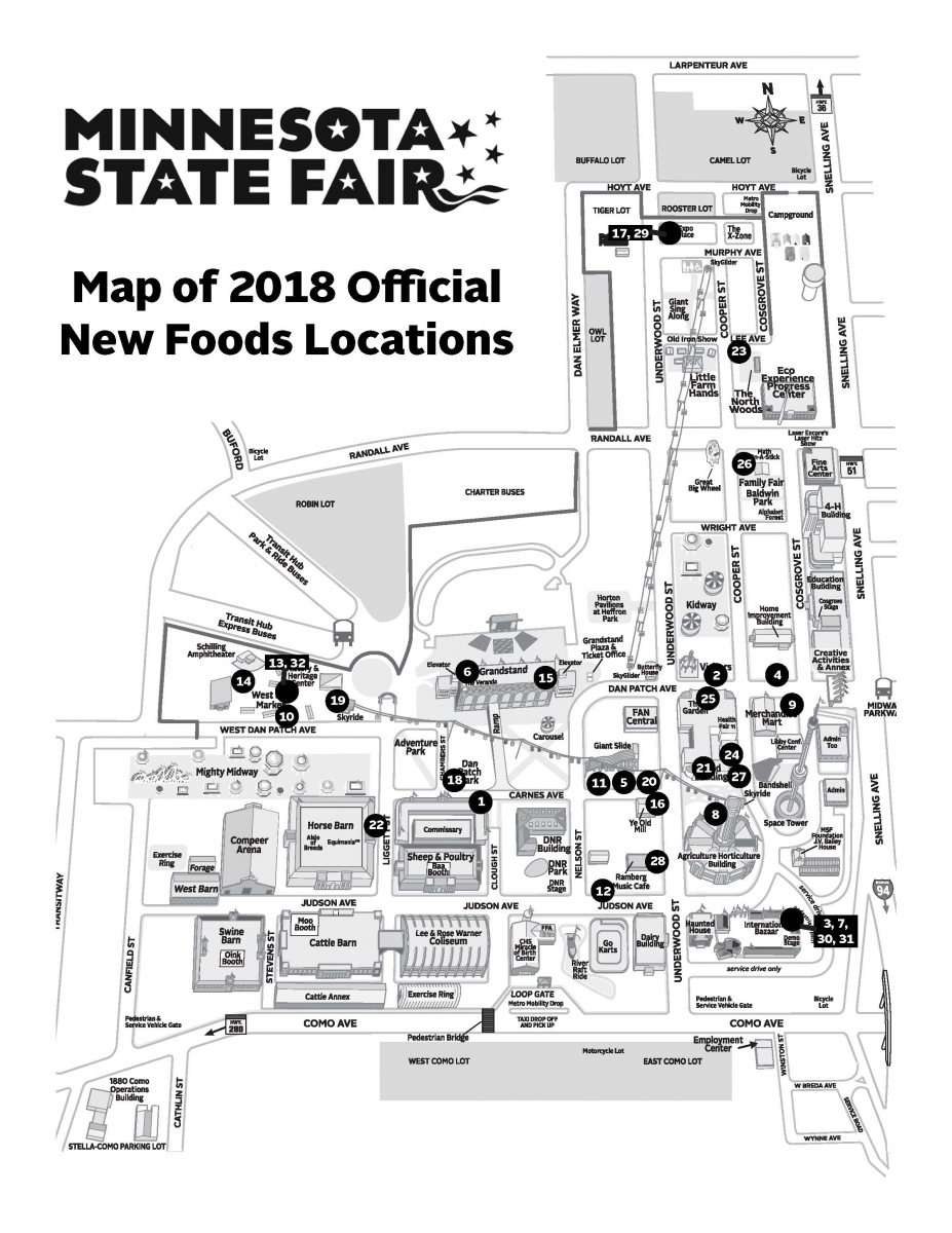 A map of where to find the new 2018 State Fair foods. Courtesy Minnesota State Fair.