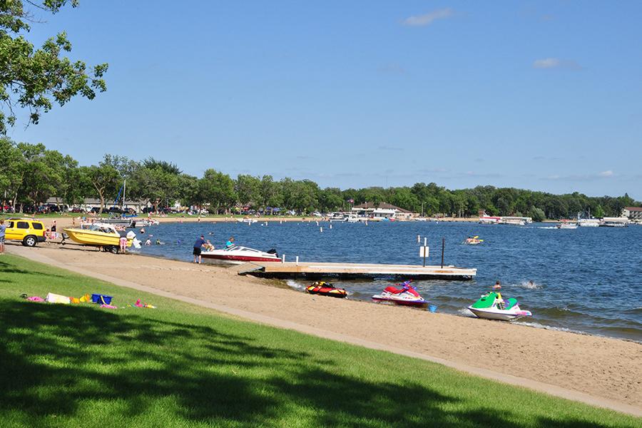 A beach at Detroit Lakes, Minnesota.