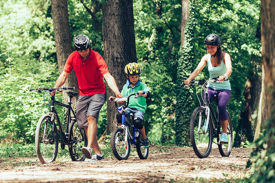A family biking through a wooded area.