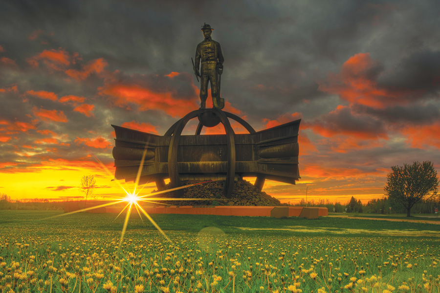 The Iron Man statue in Chisholm, Minnesota.