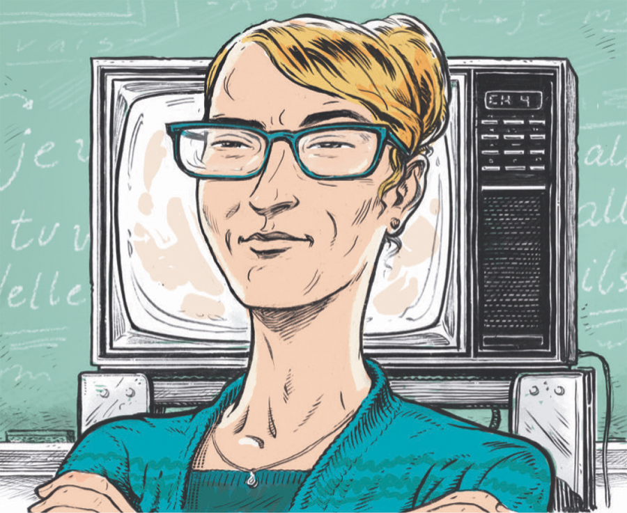 An illustration of a female teacher in front of a chalkboard and TV stand.
