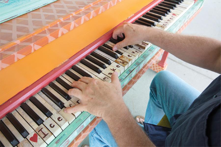 A man playing piano.
