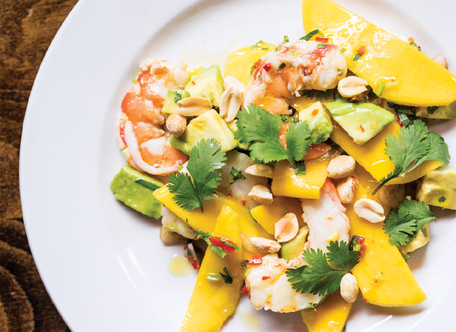 The prawn and mango salad at 112 Eatery in Minneapolis, Minnesota.