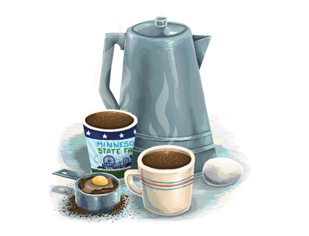 An illustration of the Swedish Egg Coffee from the Salem Lutheran Church at the Minnesota State Fair.