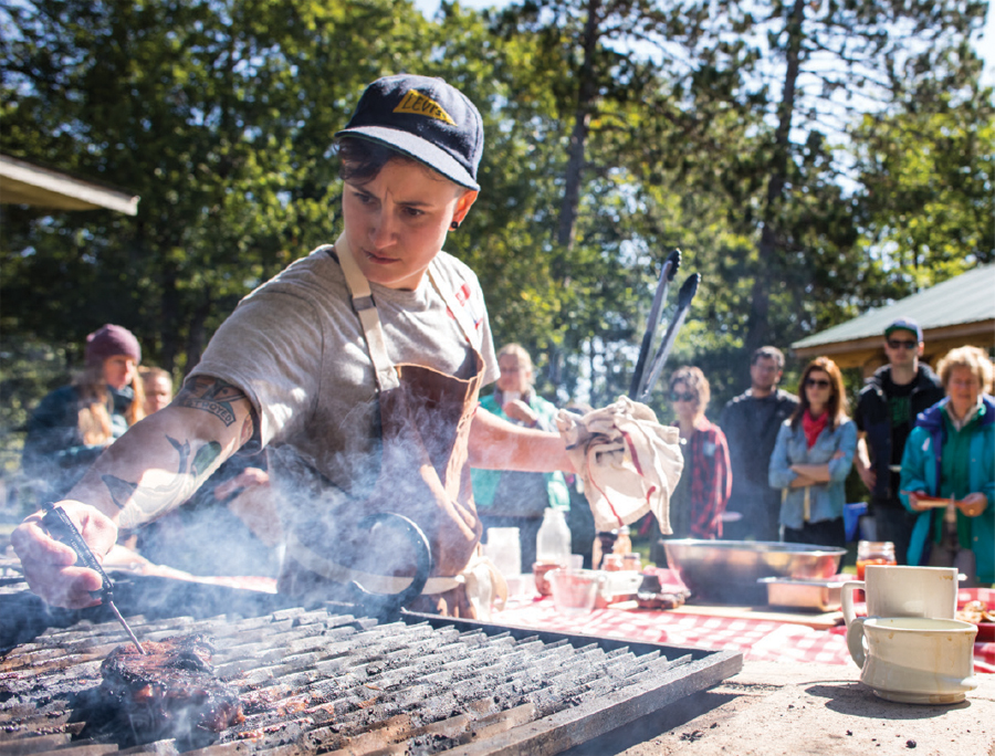 Leah Korger of The Wedge performing a demonstration at Chef Camp near Sturgeon Lake in Minnesota.