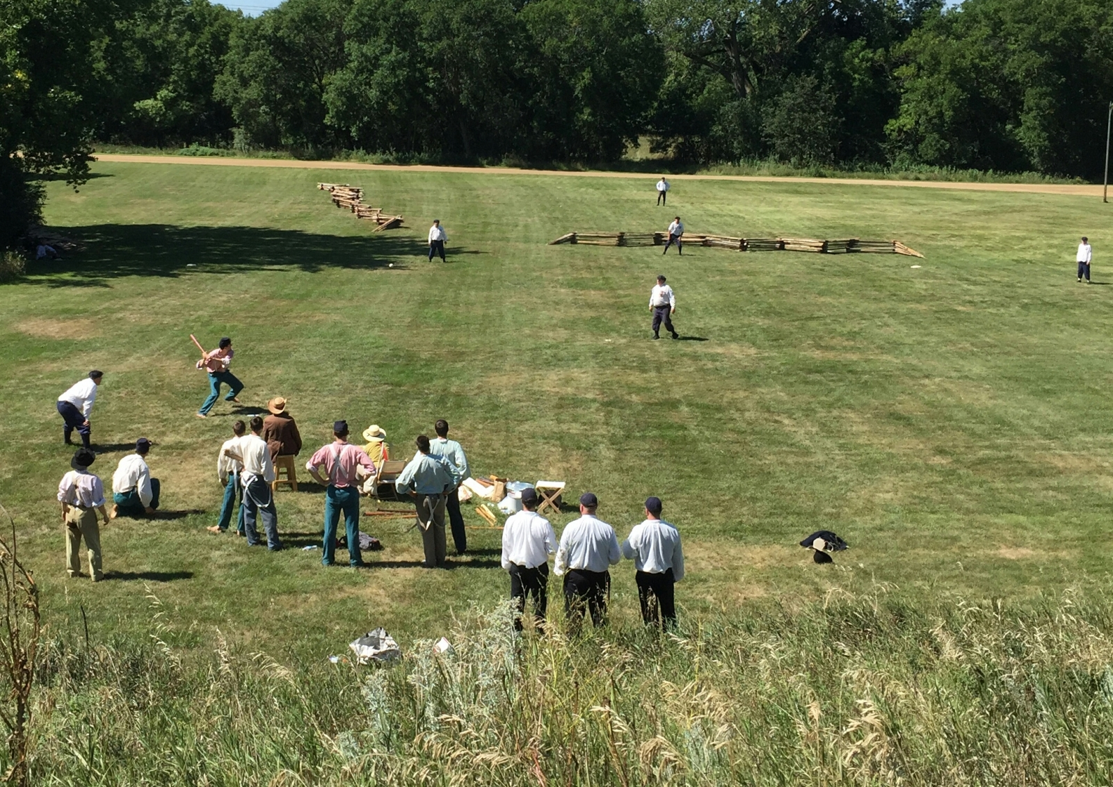 An aerial view of the reenactment of the Civil War at Pipestone's Civil War Days.