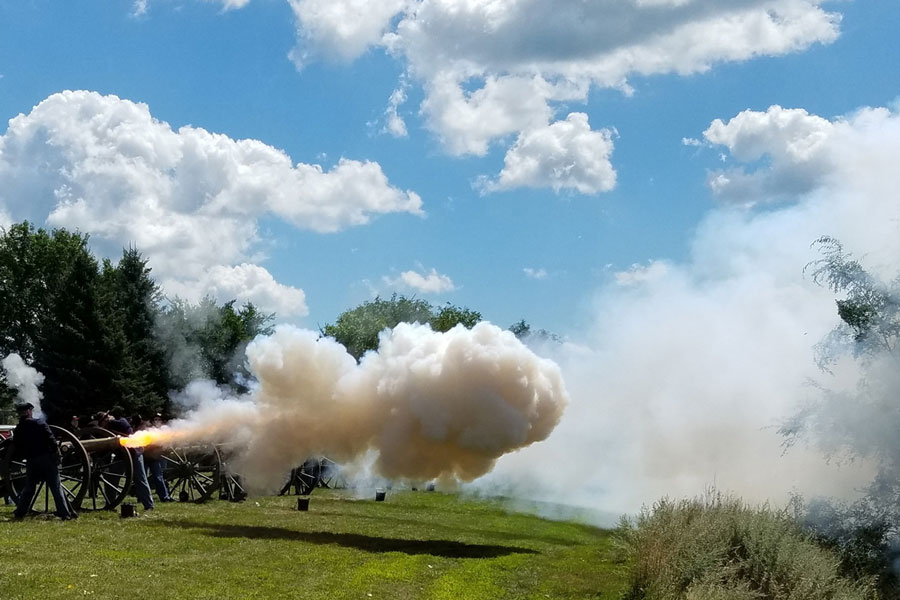 Cannons going off at Pipestone's Civil War Days.