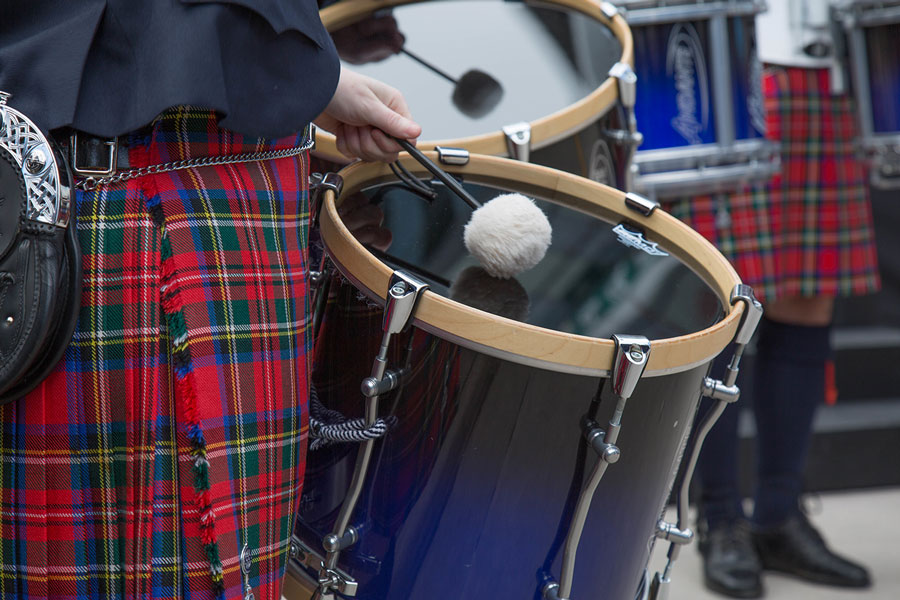 A closeup of a drum at the Irish Fair of Minnesota.