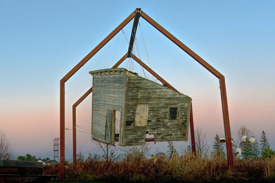 A picture of a suspended shed in Minnesota.