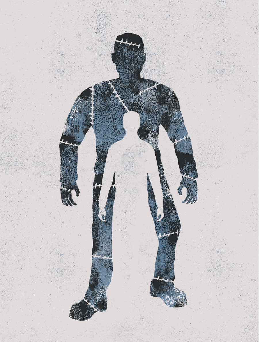 A image of a person within a person for the poster of Frankenstein: Playing with Fire.