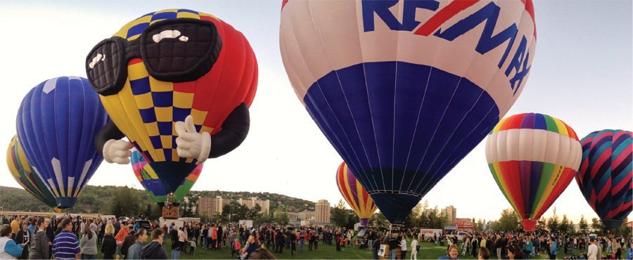 Numerous hot air balloons taking flight during Duluth Rising.