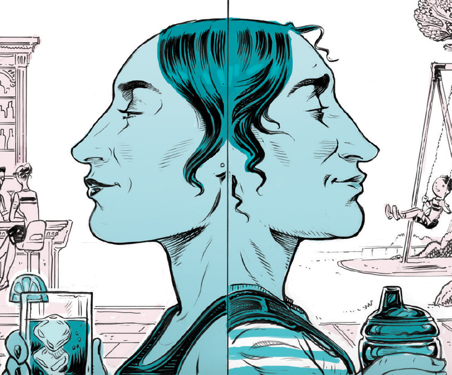 An illustration of two faces back-to-back.