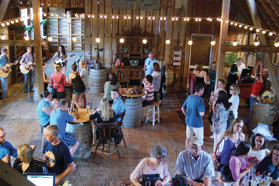 People in the tasting room at Parley Lake Winery.