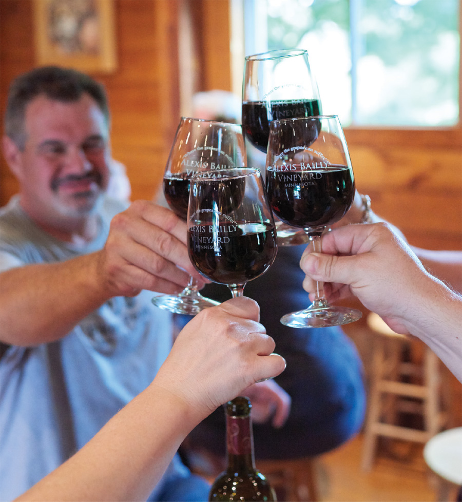 People clinking glasses of wine at Alexis Bailley Vineyard.
