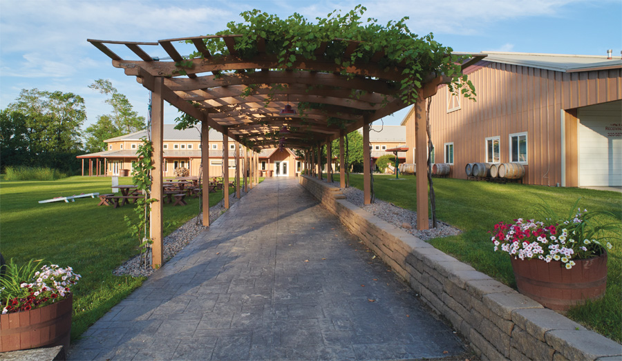 The pathway leading up to the tasting room at Crow River Winery.