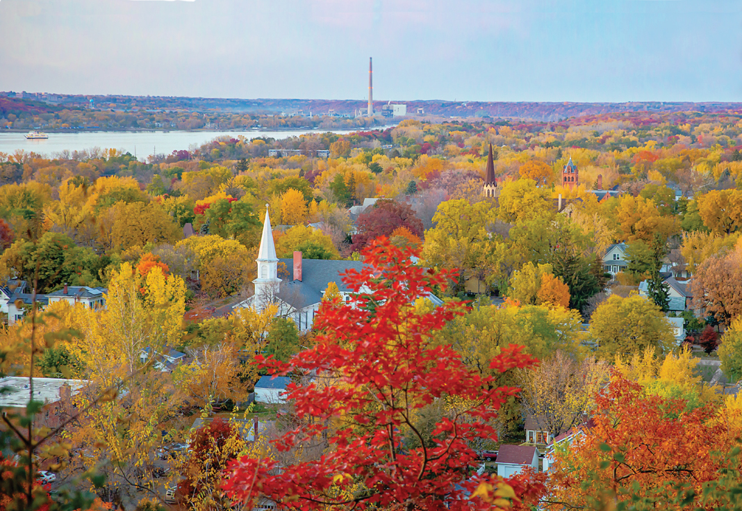 An aerial view displaying the great fall colors in Hudson, Wisconsin.