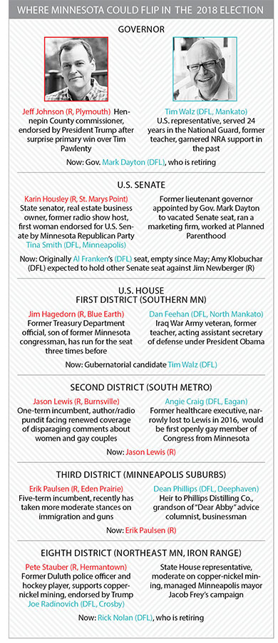 A chart showing possible election flip races in Minnesota in 2018.