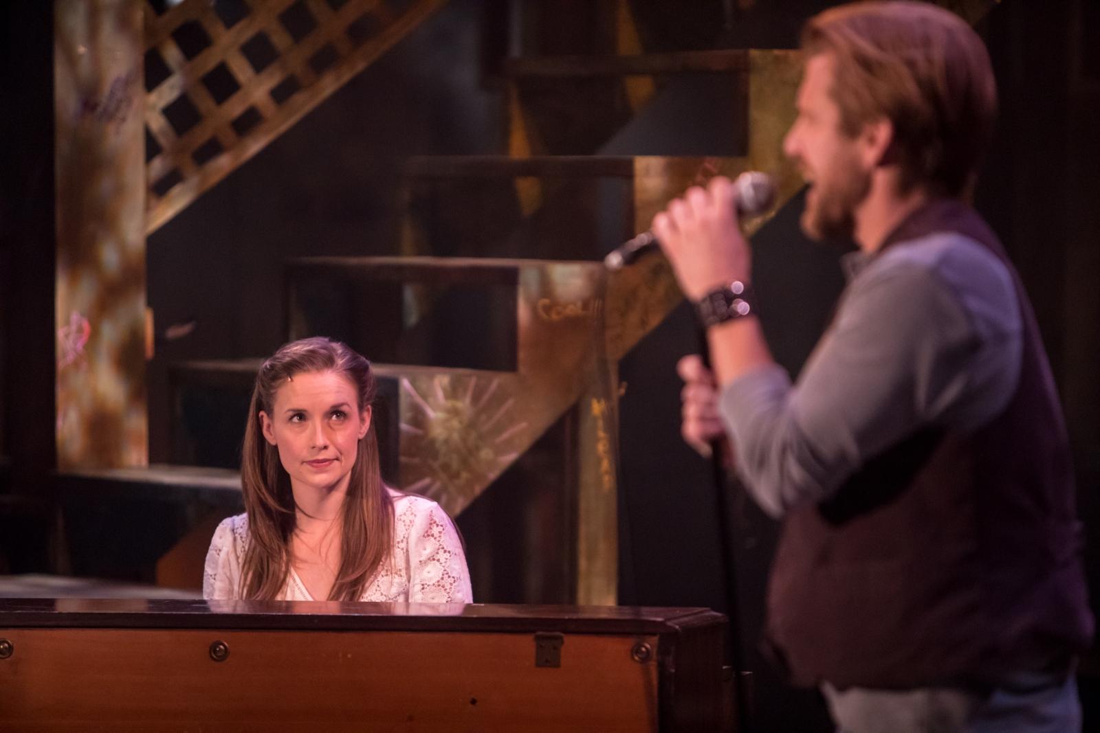 """Britta Ollmann and Ben Bakken in """"Once"""" at Theater Latté Da. Photo by Dan Norman."""