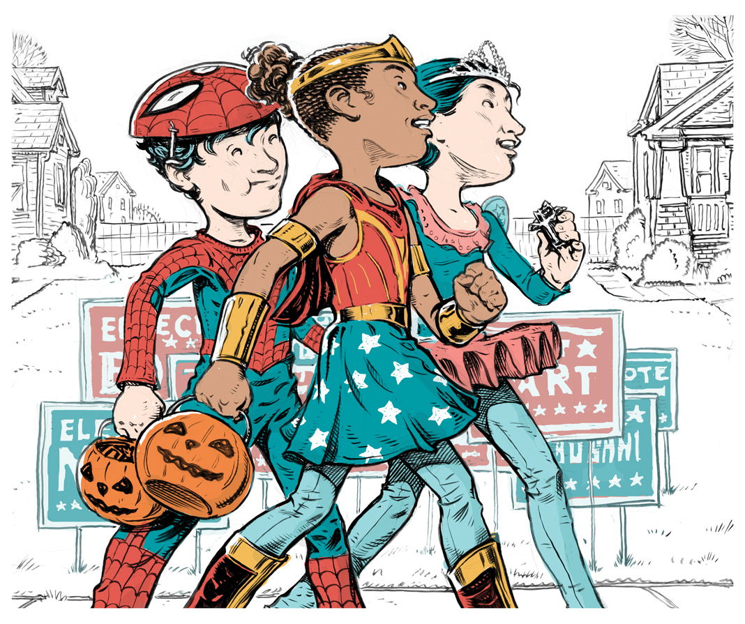 An illustration of kids going trick-or-treating.