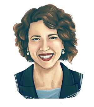An illustrated portrait of Emily Larson.