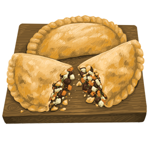 An illustration of a pasty from the Italian Bakery in Virginia, Minnesota.