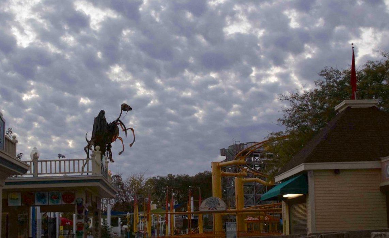 A skeleton horseman rears up along the horizon at ValleySCARE. Photo by Lianna Matt