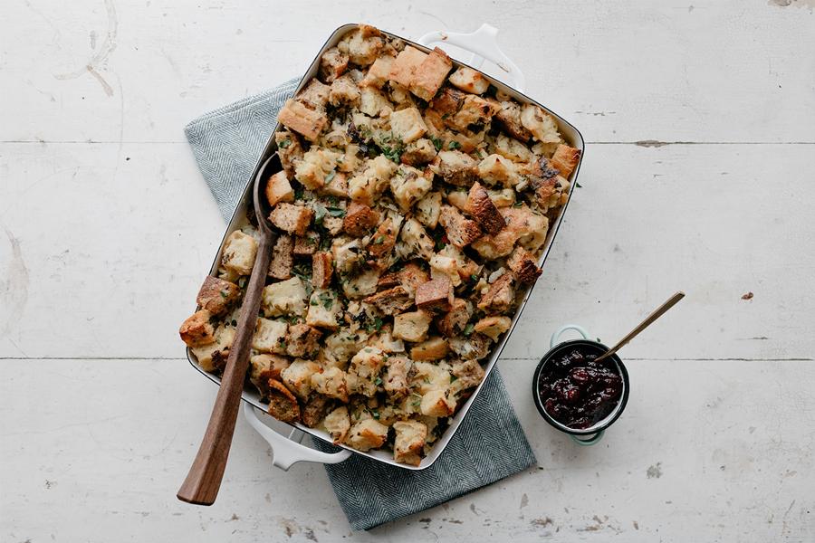 Molly Yeh's turkey wild rice hotdish with stuffing.