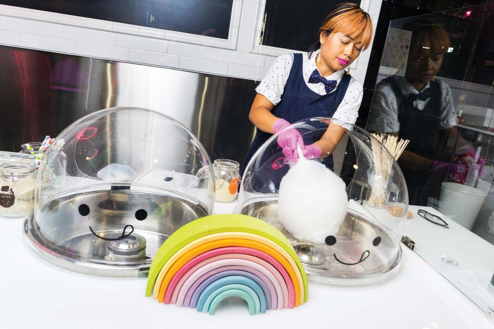 Soktevy Phann-Smith spinning cotton candy.