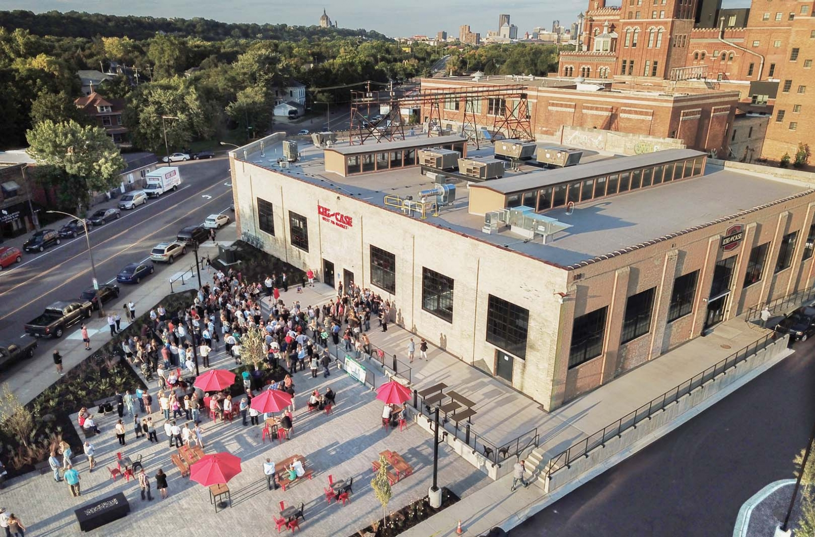 An aerial shot of Keg and Case Market.