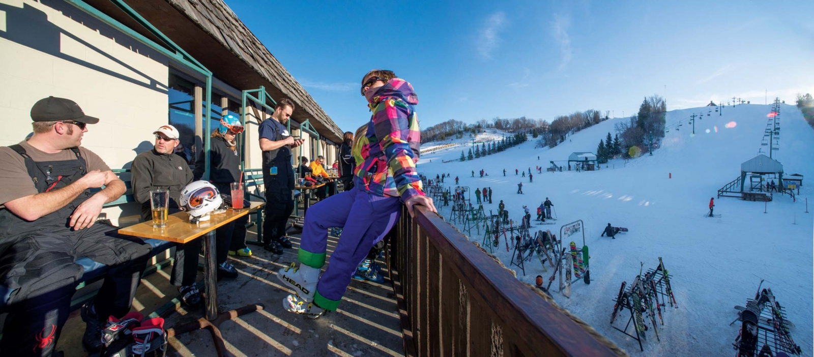 Skiers at the chalet at Mount Kato Ski Area.