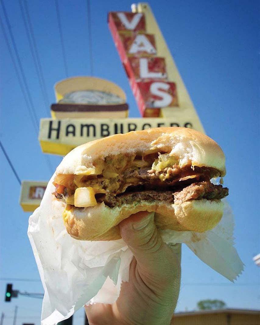 A burger from Val's Rapid Service.