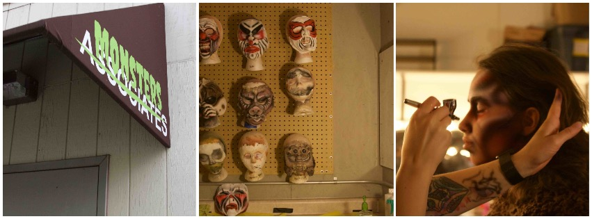 A picture of outside the mortuary, where monsters replaces the word associates on the sign. A picture of the masks that some of the performers use. A picture of someone being painted to be a Viking berserker. Photos by Lianna Matt