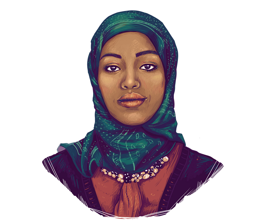 An illustrated portrait of Fatimah Hussein.
