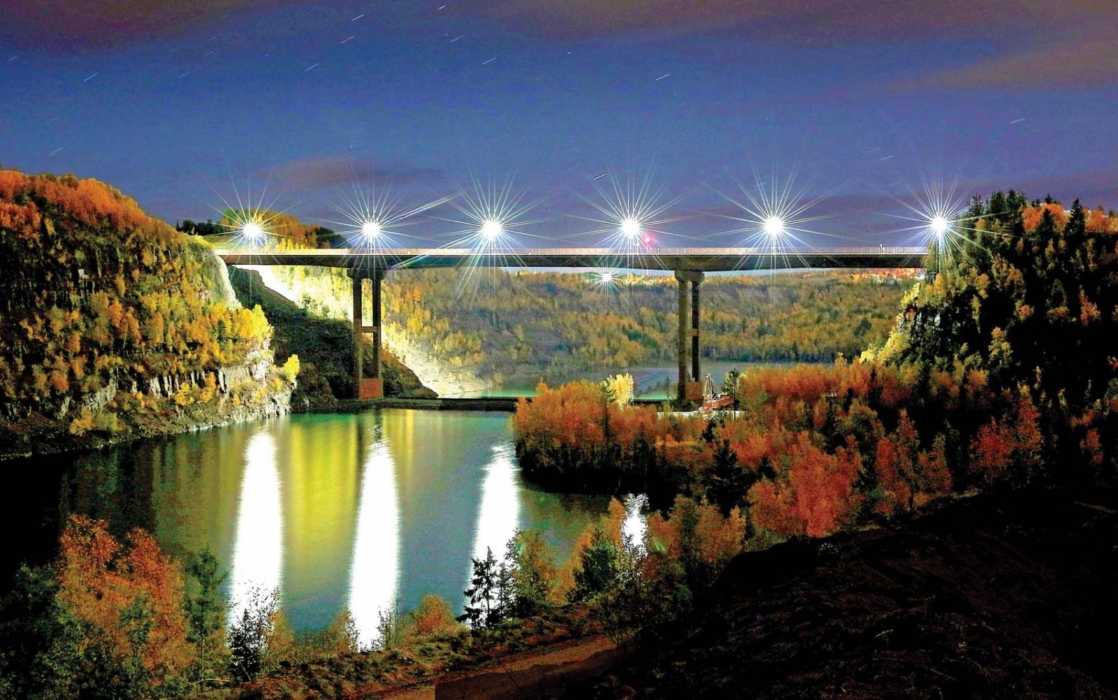 The bridge between Eveleth and Virginia, Minnesota.