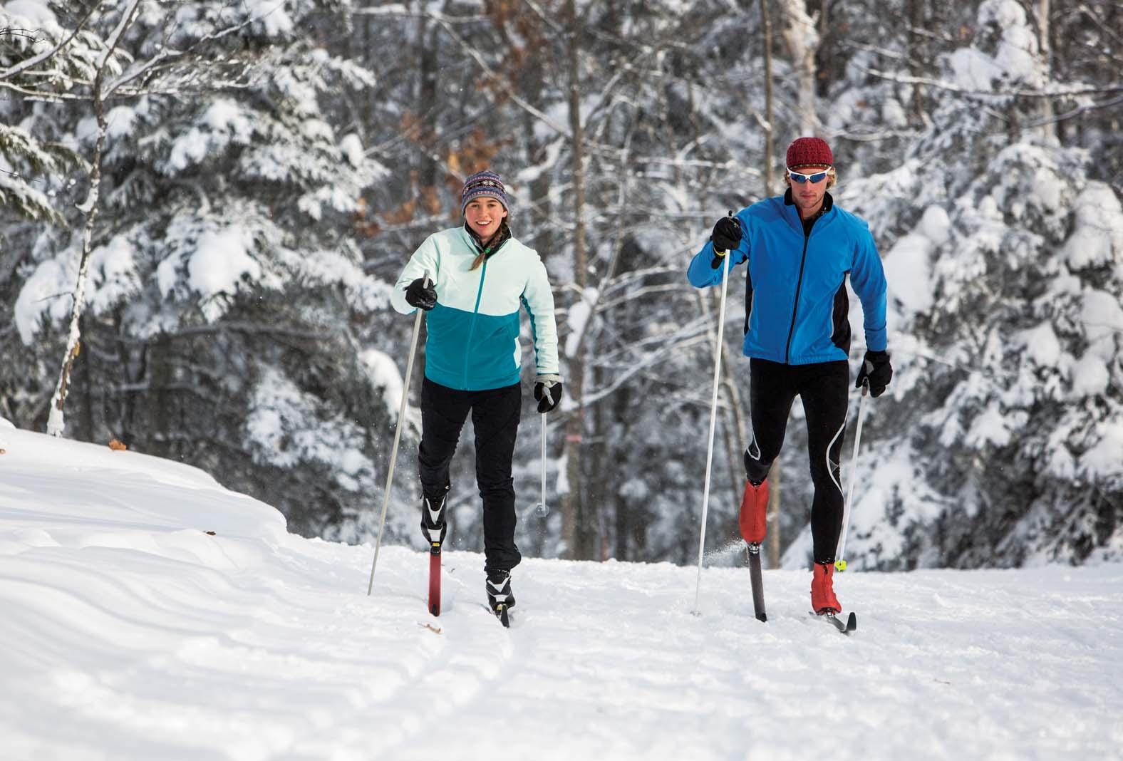 Cross-country skiers at Lutsen Resort.