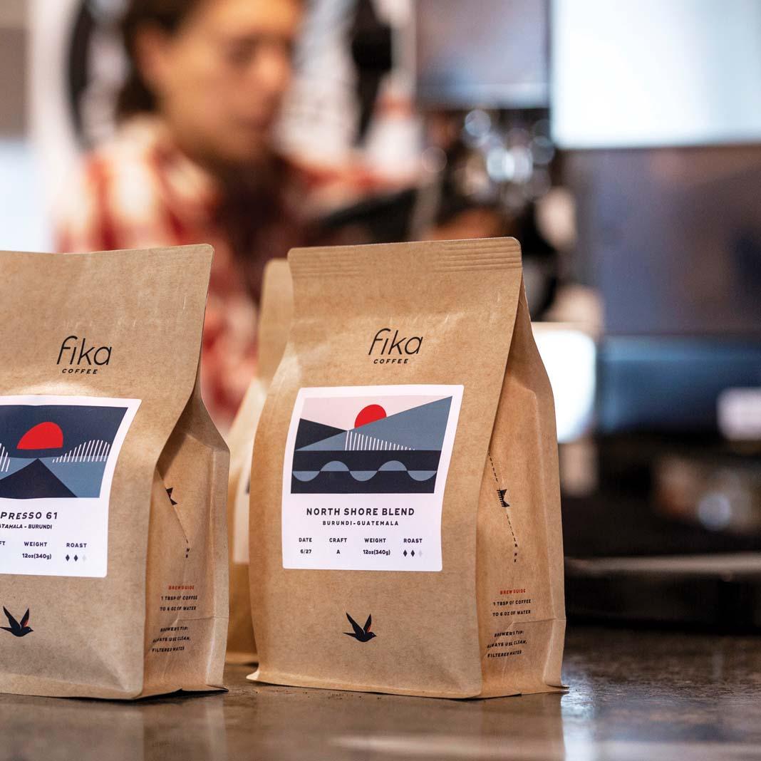 Bags of Fika Coffee.