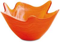 an orange glass bowl