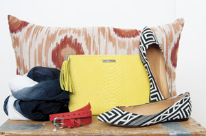 Where to get it, Gigi clutch, Schultz shoes, ragand bone belt, scarf, thresgold pillow