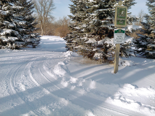 A groomed winter trail in Alexandria, Minnesota