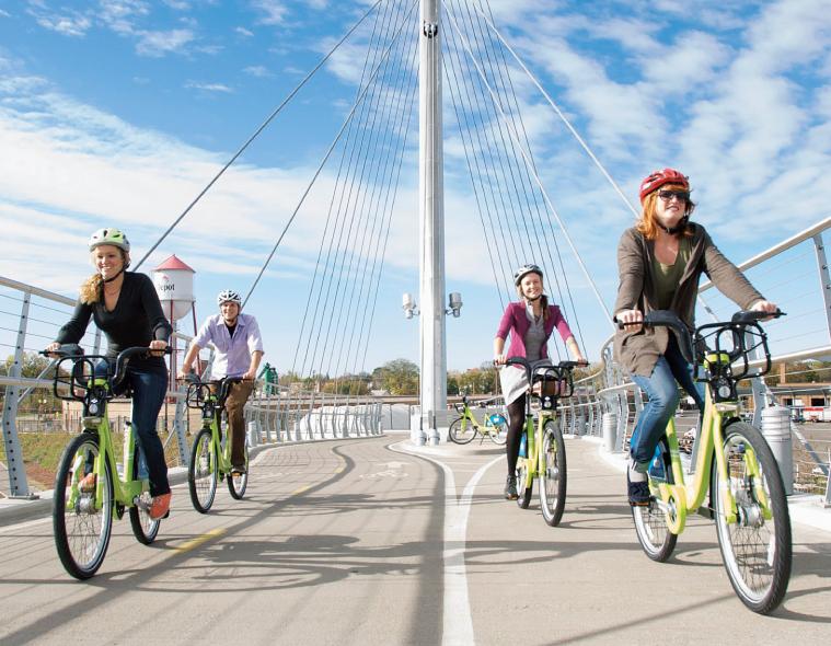 Nice Ride bikes on Hiawatha bridge