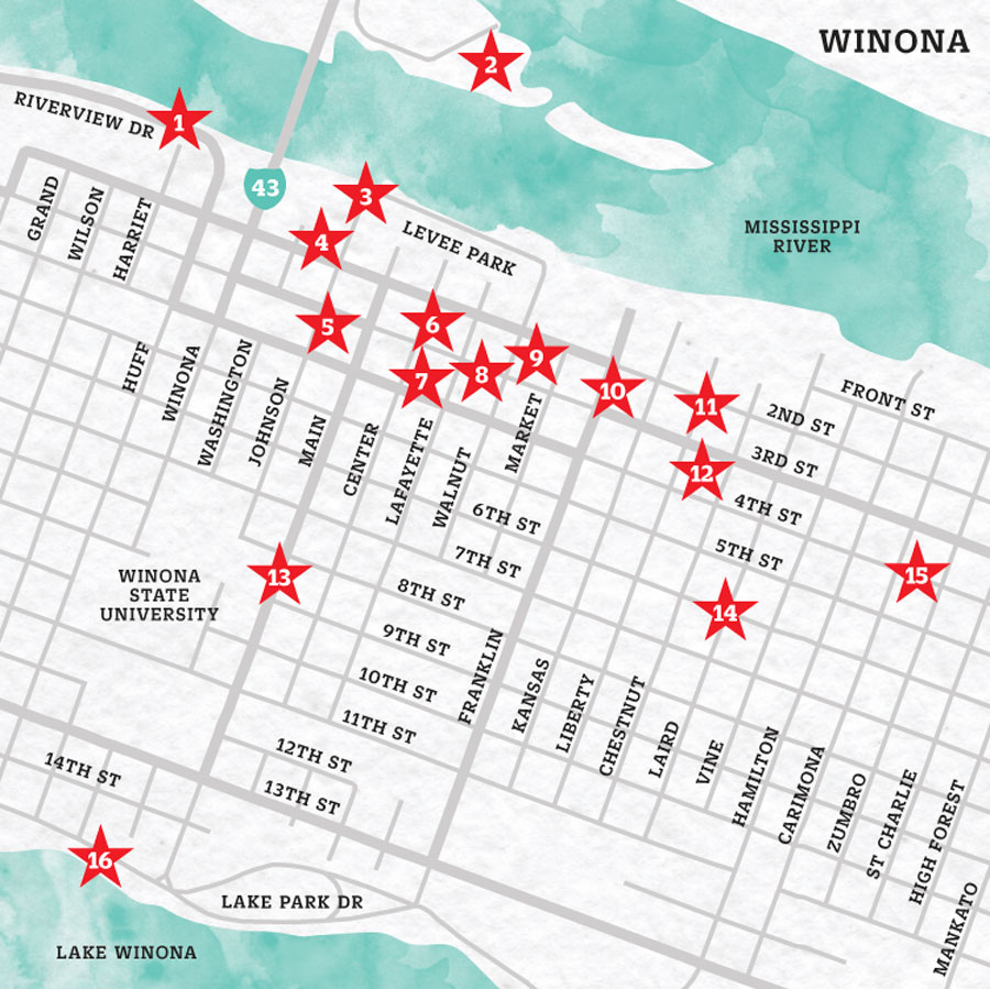 Map of Winona, MN